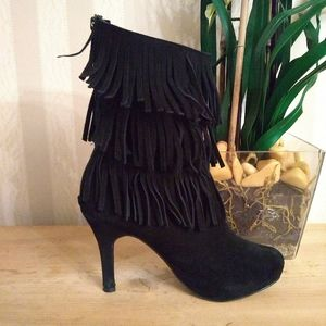 THEME Suede Fringe Booties
